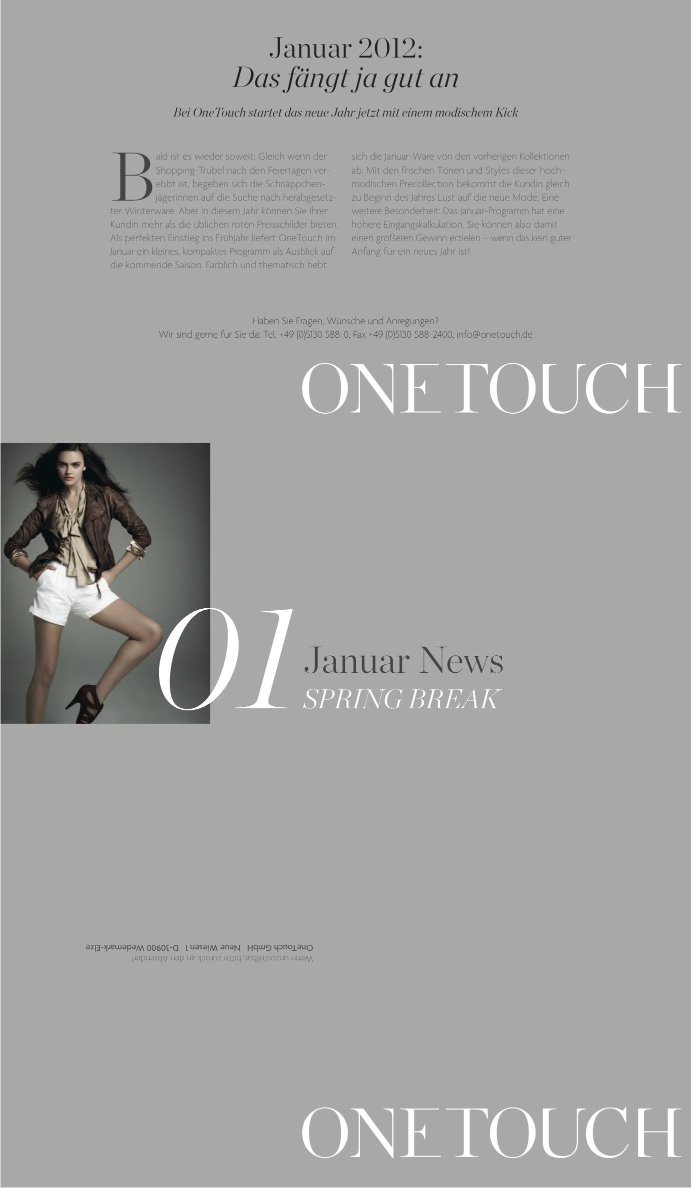 OneTouch: Newsletter 01/12_2